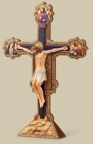 Renaissance Collection Joseph's Studio Exclusive The Ognissanti All Saints Tabletop Crucifix Freestands Cross, 10.5-Inch