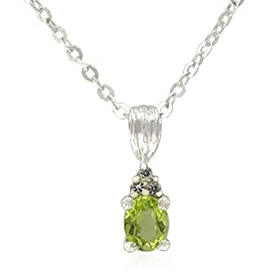Sterling Silver Oval-Shaped Peridot Pendant Necklace , 18.5""