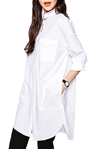 Chfashion Women's Fall Boyfriend Polo Collar Shirt Dress White X-Large
