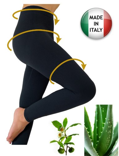 Slimming Anti-Cellulite Leggings With Aloe Vera+Green Tea - Black Size L