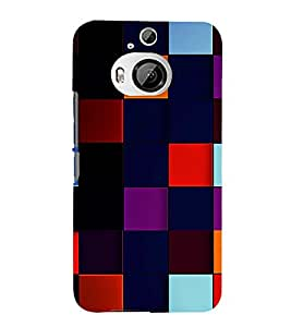 99Sublimation Square and Checks In Multi Colour Pattern 3D Hard Polycarbonate Back Case Cover for HTC One M9 Plus