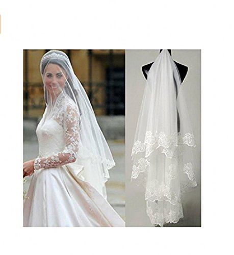 AK Beauty Bridal Accesories Wedding Veils Lace One Layer White/Ivory Bridal Veils (White)