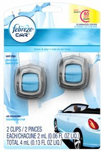 Febreze Car Vent Clips Linen & Sky Air Freshener (2 Count; 2 Ml Each), 0.13 Fluid Ounce (Clip Air Freshener compare prices)