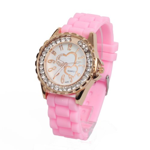 WLM Pink Color Silicone Watch Band Jelly Quartz Wrist Watch Watches