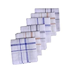 S4S 100% Cotton Striped Handkerchiefs (Pack of 6)