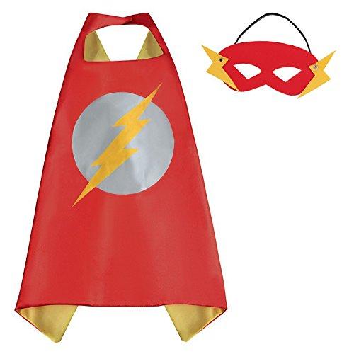 The Flash Cape and Mask Set for Boys Girls Kids Comic Halloween Christmas Costume Xmas Birthday Gift