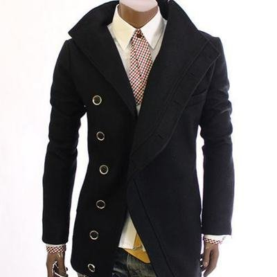 Men's Stylish Designer Casual Slim Fit Blazer Jacket Zipper Wool Coat, Large