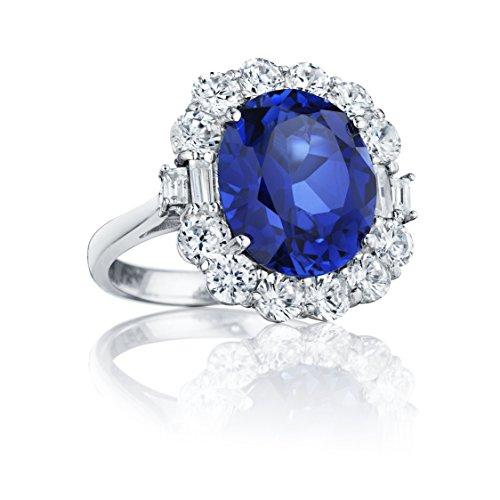 Ryan Jonathan - Anello in zaffiro e diamante, forma: ovale, materiale: platino, 11.60 cttw, colore: Blu, Platino, 11, cod. C2462W