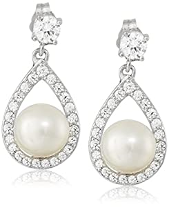 Platinum Plated Sterling Silver Cubic Zirconia Freshwater Cultured Pearl Drop Earrings