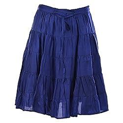 Geroo Women Silk Blue short skirt Free Size
