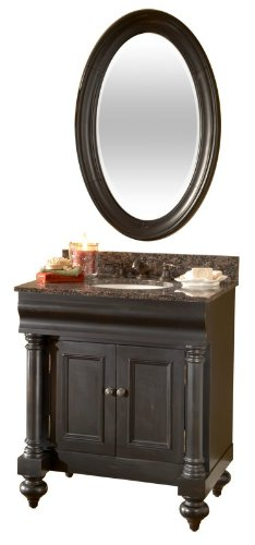 Kaco international 725-2224-B Guild Hall Small Vanity Mirror in a Distressed Black Sherwin Williams Finish
