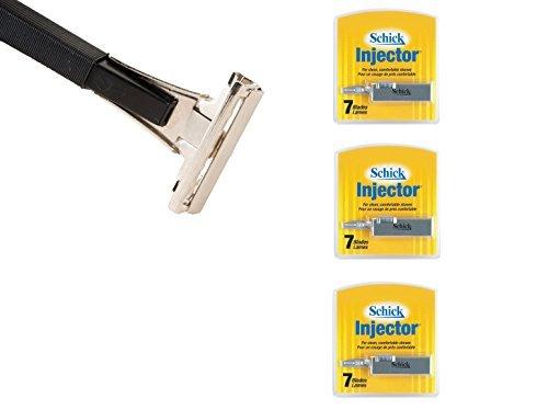 shave-classic-single-edge-razor-handle-schick-injector-refill-blades-7-ct-pack-of-3-razor-compatible