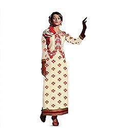 Pavani Women's Cotton Semi Stitched Dress Material (D1500037_Cream_Free Size)