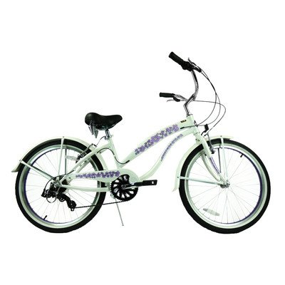 Women's 7 Speed Beach Cruiser Frame Color: Pearl White with Purple