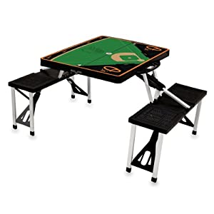 MLB Baltimore Orioles Baseball Field Design Portable Folding Table and Seats, Black by Picnic Time