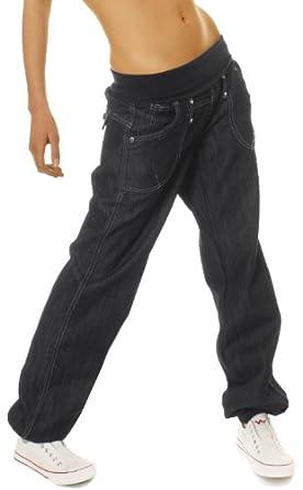 Bestyledberlin Sarouel en jeans femme dans les tailles 40/L Jeans femme noir