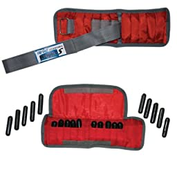 The Adjustable Cuff_ wrist weight - 4 lb. - 20 x 0.2 lb. inserts - Red - pair