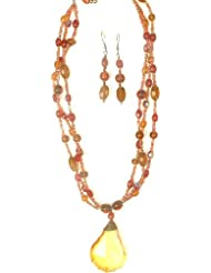 Exotic India Glass Bead Necklace & Earrings Set - Glass Beads