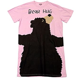 Bear Hug Black Bear Pink Nightshirt Lazy One Apparel