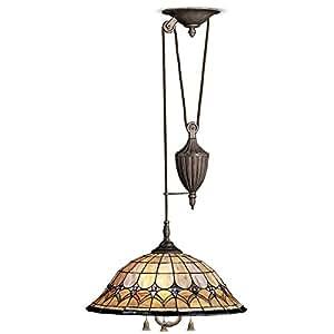 Kichler Lighting 65168 3-Light Artaxerxes Art Glass Pull-Chain Pendant, Bronze