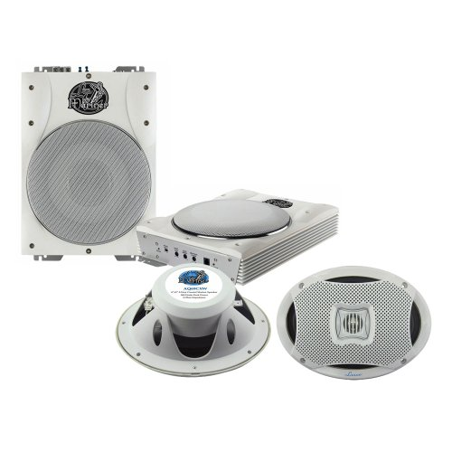 Lanzar Marine Amp Woofer And Speaker Package - Aqtb8 8'' 1000 Watts Low-Profile Super Slim Active Amplified Marine/Waterproof Subwoofer System - Aq69Cxw 500 Watts 6''X9'' 2-Way Marine Speakers (White Color) (Pair)