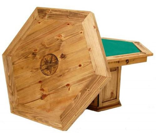 "Six Sided Star Poker Table (Brown) (53.00""W x 31.00""H x 53.00""D)"