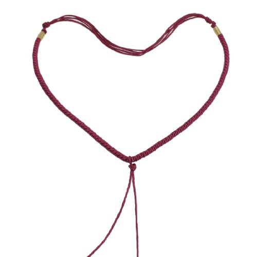 Rosallini 5 Pcs Lady Burgundy No Pendant Necklace Braid String Chain