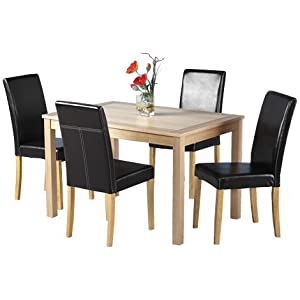 Wood Dining Table And 4 Matching Faux Brown Leather Dining Room Chairs Amazo