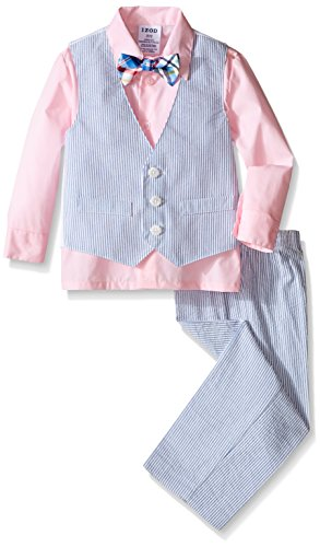 IZOD Kids Little Boys' Seersucker Vest Set 3 Piece, Pink Candy, 3T