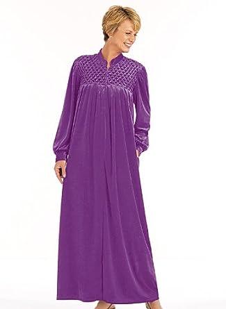 Zip-Front Velour Robe, Color Purple, Size SM