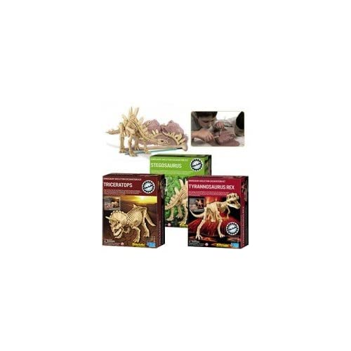 Kidz Lab Dinosaur Excavation Dig Kits - Gift Pack set of 3 - Triceratops T-Rex Stegosaurus