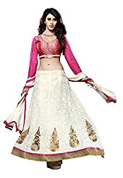 Suchi Fashion Cream & Purple Heavy Embroidery Georgette Semi Stitched Anarkali Suit/ Lehenga