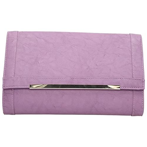 Tiffany Metal Tab Flapover PU Leather Ladies Evening Smart Clutch Bag