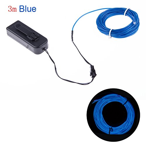 Enjoydeal Neon LED Light EL Wire Strip Tube for Car Dance Party +Controller Blue 3m