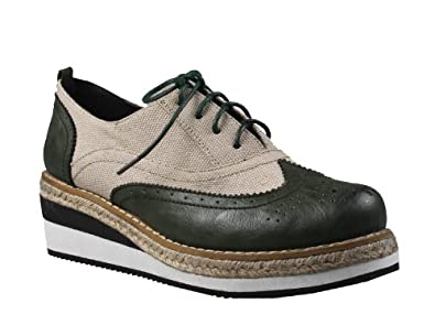 REFRESH MONA-02 Women's oxford toe lace up sneakers on espadrille low wedge with PU upper