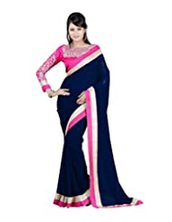 Winza Saree Ethnic Party Wear Navy Blue Chiffon Sarees For Women