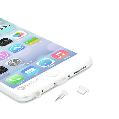 PortPlugs - 5 Pairs of Premium Anti Dust Plugs for iPhone SE, 5, 5s, 5c, 6, 6s,7 Plus iPad Mini, Pro - Integrated SIM Card Removal Tool - Compatible with Most Cases (Clear) (Iphone Charger Custom compare prices)