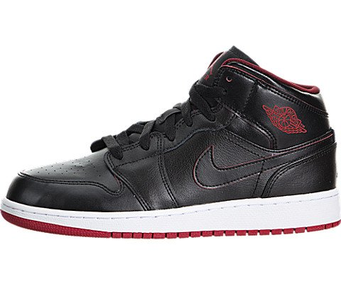 Nike Jordan Kids Air Jordan 1 Mid Bg Black/Black/White/Gym Red Basketball Shoe 4 Kids US (Black Red White Jordans compare prices)