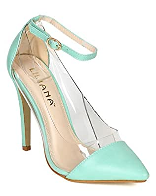 Amazon.com: Liliana Women CD59 Leatherette Lucite Pointy Toe Ankle