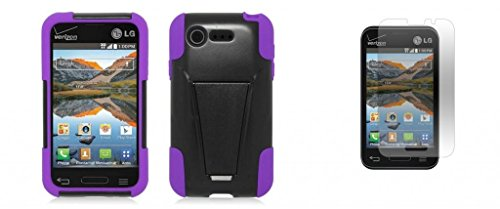 Lg Optimus Fuel / L34C (Straight Talk, Tracfone, Net 10) - Black/Purple Dual Layer Impact Defender Shockproof Armor Kickstand Cover Case + Atom Led Keychain Light + Screen Protector