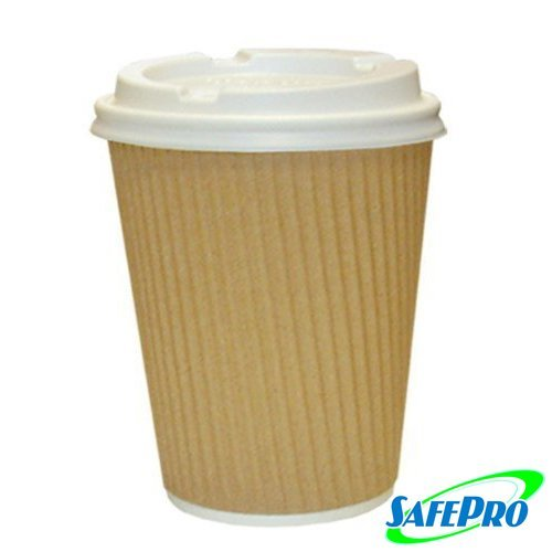 SafePro 8 oz Kraft Ripple Paper Hot Coffee Cups and Tea Cups 8 ounces with Cappuccino Lids (Case of 100) (Cappuccino Cups 8 Oz compare prices)