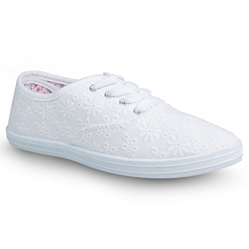 Twisted Women's Tennis Basic Athletic Lace-up Perforated Sneaker - White, Size 6
