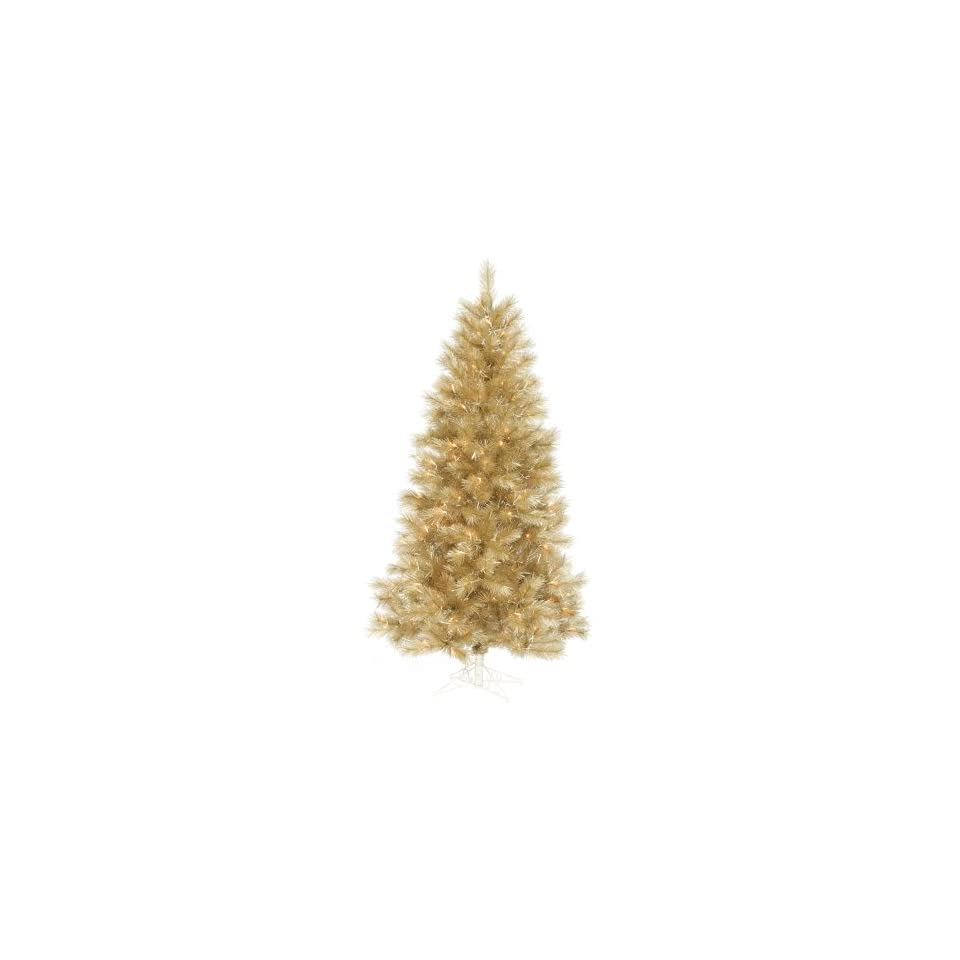 9.5 Pre Lit Champagne Gold Artificial Christmas Tree   600 Clear Lights