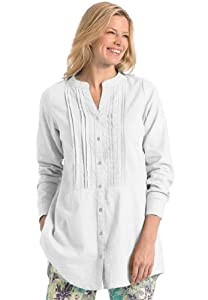 Sale plus size pintucked and pleated tunic top in linen for Tucked in shirt plus size
