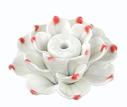 Lotus Flower Ceramics Incense Burner Handmade Beauty Blue and White Porcelain Charms IY01 (1)
