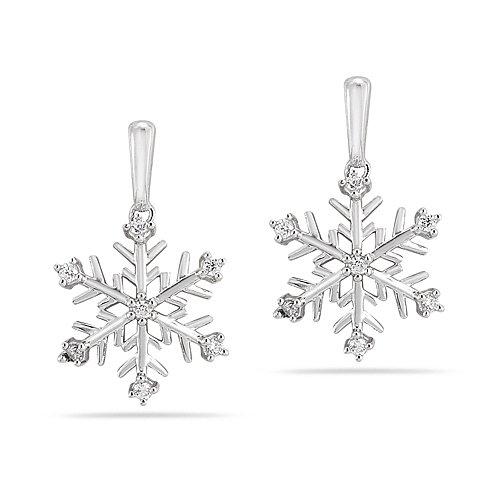 Snowflake Earrings from 10k White Gold Diamond