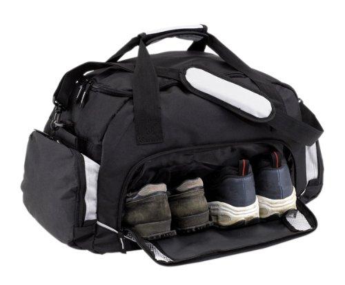Sporttasche grau schwarz Reisetasche mit Schuhfach