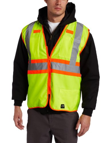 Key Apparel Men's Solid Vest High Visibility Reflective Stripe Zip Front, Hi-vis, Medium-Regular