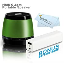 HMDX Audio HX-P230GR JAM Classic Bluetooth Wireless Speaker (Green) + FREE Bonus Photive 2600mAh Portable Battery Charger Power - Allows You To Charge Your Speakers or Phone On The Go