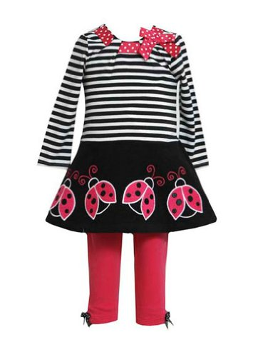 Bonnie Jean Girls Stripe Bug Applique Leggings Set